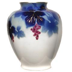 Grape Blue and White Japanese Vase