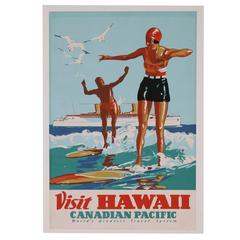 Hawaii Surf Travel Poster, Canadian Pacific, 1930s