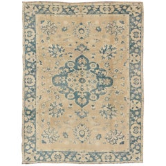 Vintage Turkish Oushak Rug in Cream and Blue