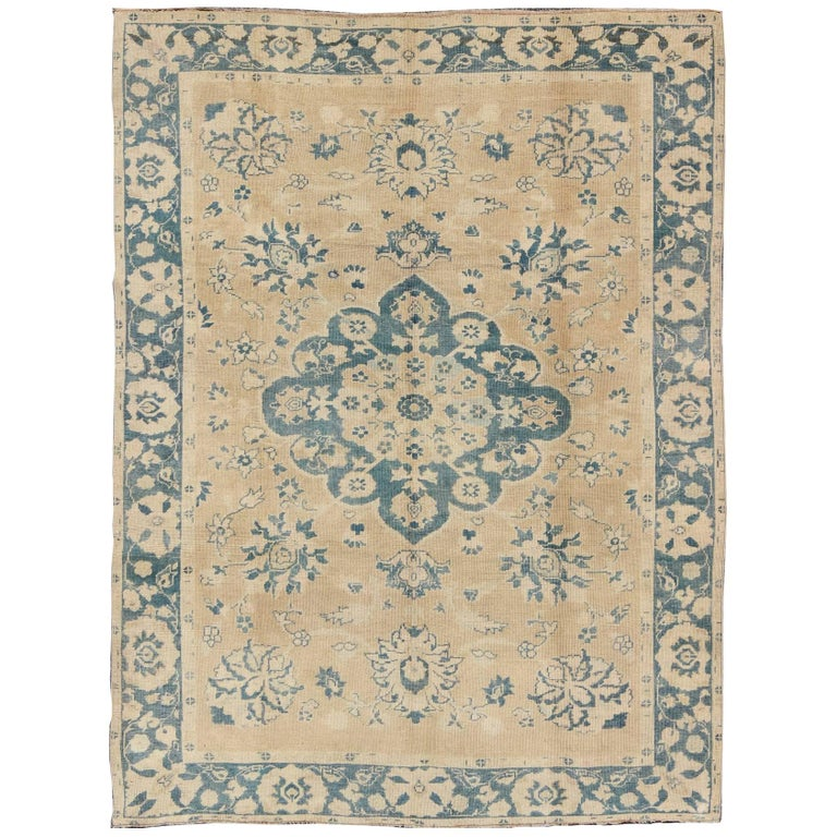 Vintage Turkish Oushak Rug in Cream and Blue For Sale