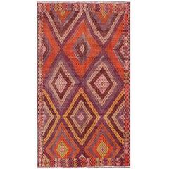 Magnificent Vintage Turkish Embroidered Kilim Rug in Purple and Orange