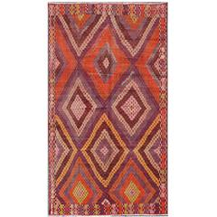 Magnificent Vintage Turkish Embroidered Kilim Rug in Purple and Orange