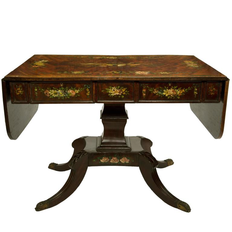 19th century edwards and roberts burr mahogany sofa table for Sofa central table