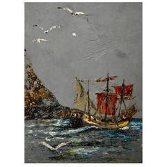 Folk Art Painting of a Ship