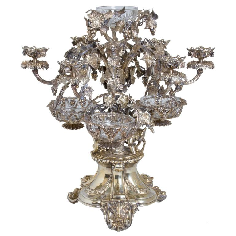 Monumental Silver Plate Epergne Candelabra Centerpiece With Hanging Baskets At 1stdibs