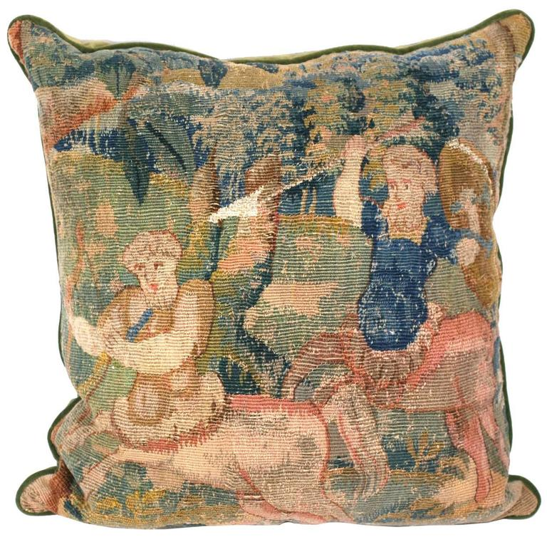 Aubusson Tapestry Cushion of Battling Satyrs For Sale