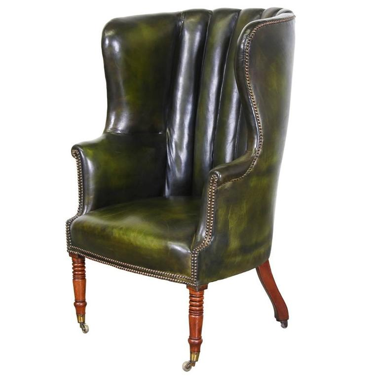 Vintage Green Leather High Back Wing Chair For Sale