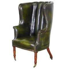 Vintage Green Leather High Back Wing Chair