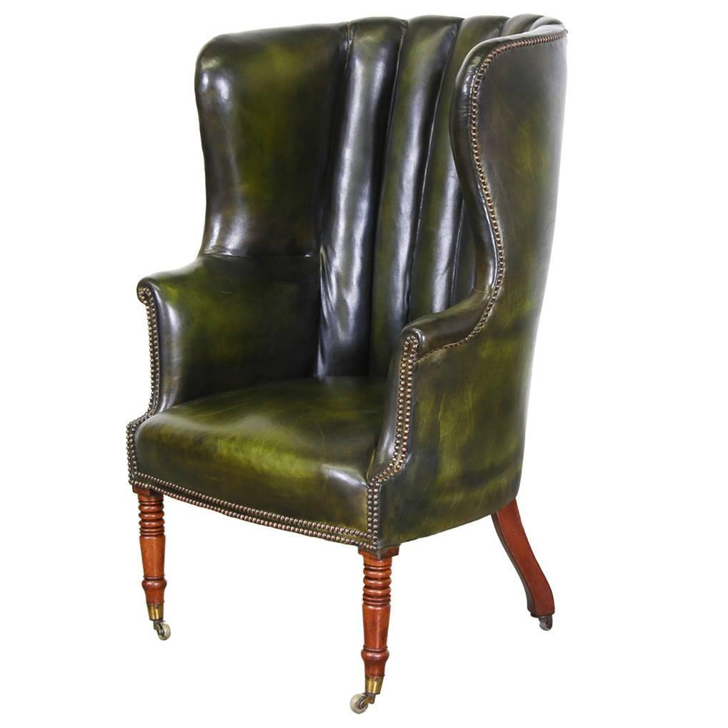 High backed winged leather chairs chesterfield armchair for High back leather chairs