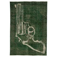 Vintage Persian Tabriz Overdyed Green Rug with Revolver Gun Design, Man Cave Rug