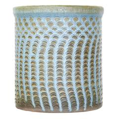 Midcentury Glazed Ceramic Leave Pattern Planter