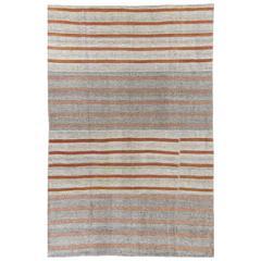 Large Striped Nomadic Kilim, Flat-weave Rug