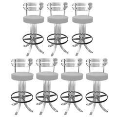 Set of Seven Lucite Bar Stools