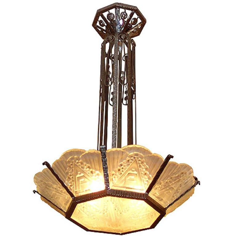 French Art Deco Geometric Glass Chandelier For Sale