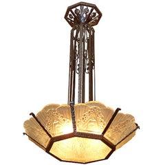 French Art Deco Geometric Glass Chandelier
