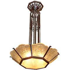 French Art Deco Geometric Glass Chandelier
