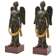 Pair of French Empire Bronze, Ormolu & Marble Winged Female Figures, circa 1815