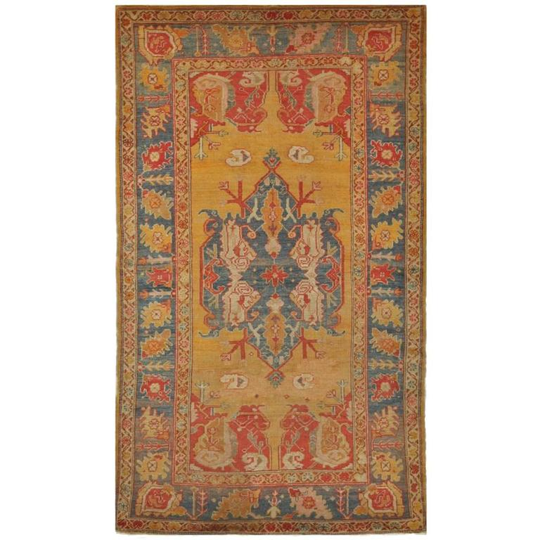 Oushak Rugs For Sale: Small Antique Turkish Oushak Rug For Sale At 1stdibs