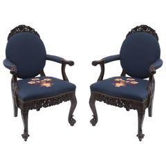Pair of 19th Century Anglo-Indian Armchairs