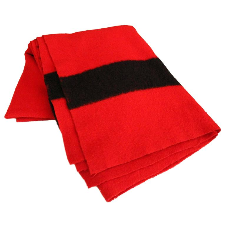 Hudson Bay Company Red Wool Blanket with Four Black Bands from England For Sale