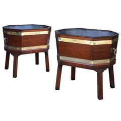 Pair of Brass Bound Rosewood Wine Coolers