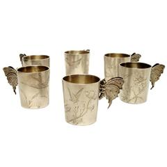 Exquisite Set of Six French Silver Beakers by F.Nicoud