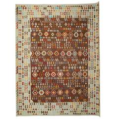 Afghan Kilim Rugs Brown and Ivory