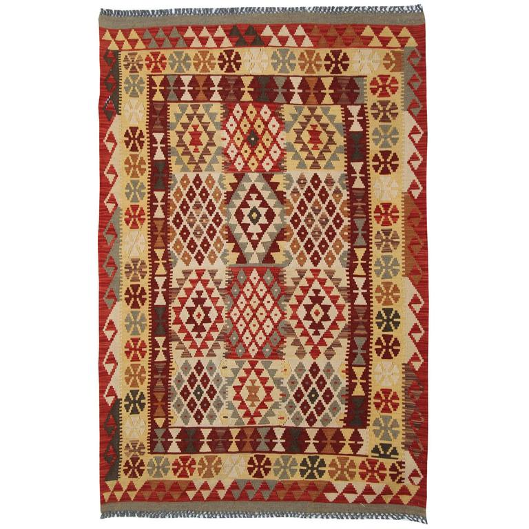 Red And Gold Kilim Rugs With Geometric Designs For Sale At