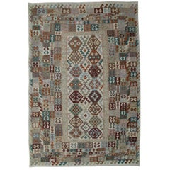 Kilim Rugs, Traditional Rugs Design, Primitive Gray Carpet from Afghanistan