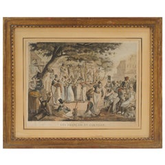 "Directoire Period Engraving ""Les Francais en Garnison"" in Gilded Frame"