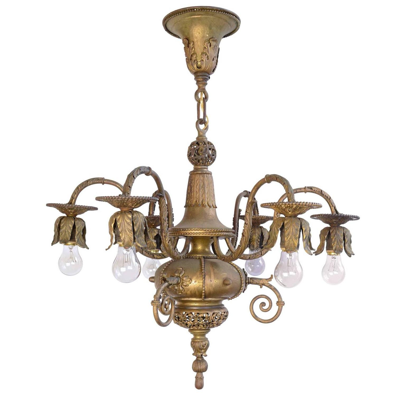 Late 1890s Electrified Hand Wrought Iron Chandelier with Eight