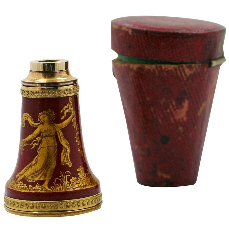 Empire Painted and Lacquered Spyglass, Early 19th Century For Sale