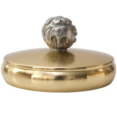 Scandinavian Modern Brass and Pewter Lidded Bowl by Carl-Einar Bergstrom,Ystad