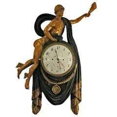 Hermes Carved Painted and Gilt Clock Vienna, circa 1820-Later
