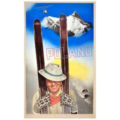 "Rare Original Vintage Polish Skiing Poster by Osiecki & Skolimo ""Ski in Poland"""