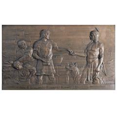 """""""Work and Industry, """"43"""" Magnificent Allegorical Relief Panel with Male Indian"""