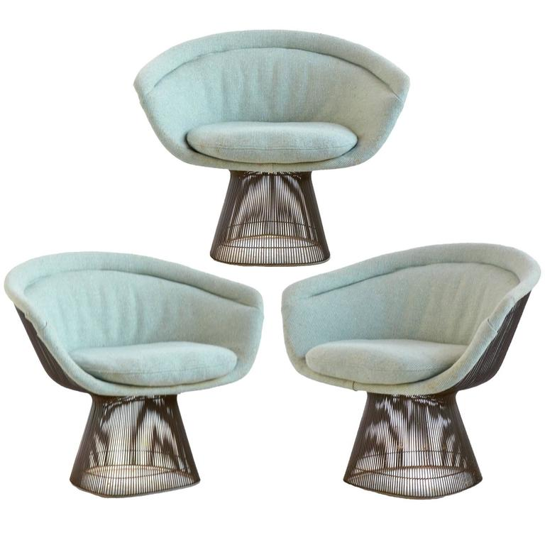 this warren platner three bronze lounge chairs by knoll is no longer