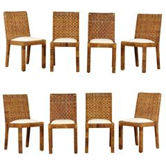 Restored Set of Eight Vintage Rattan Dining Chairs by Bielecky Brothers