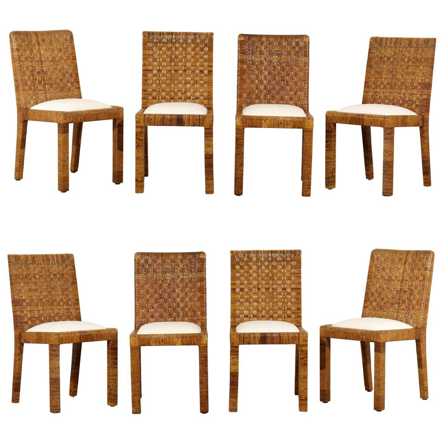 Restored Set of Eight Vintage Rattan Dining Chairs by Bielecky ...