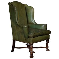 William and Mary Style Leather Upholstered Wingback Armchair