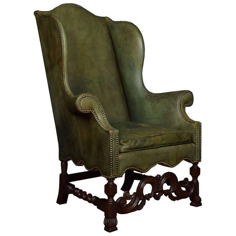 Carolean Style Walnut Framed High Back Armchair