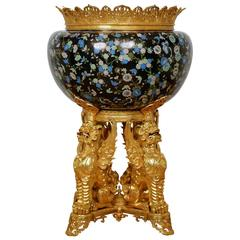 Ormolu and Cloisonné Enamel Jardinière Attributed to F. Barbedienne
