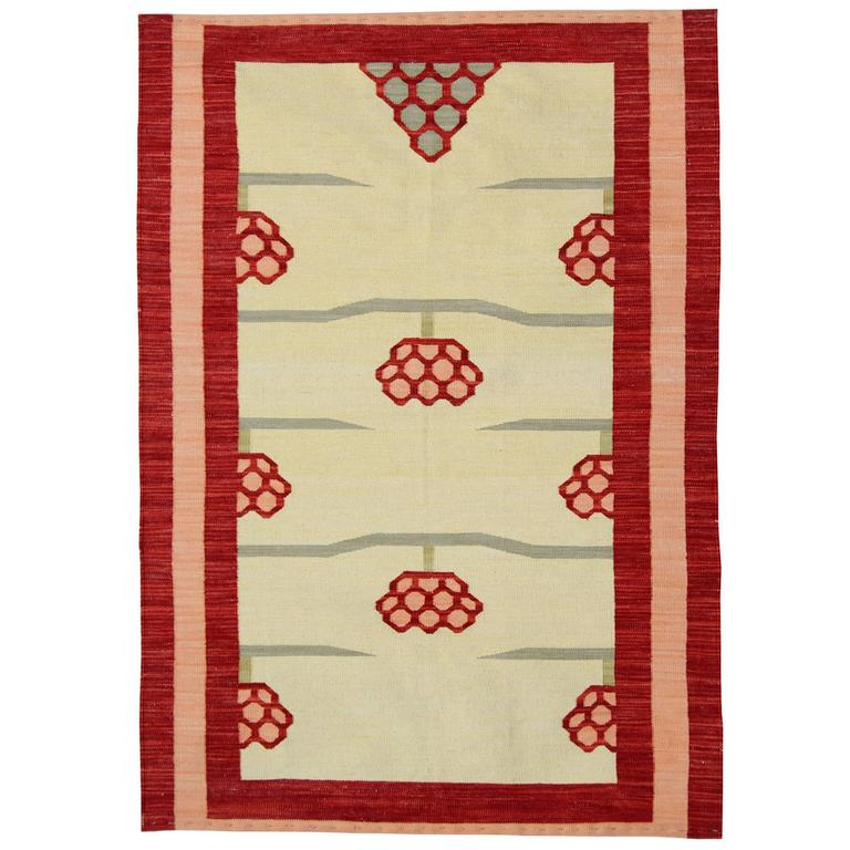 Ivory Base Modern Kilim Rugs For Sale At 1stdibs