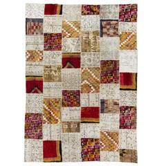 Patchwork Rug made of Vintage Tulu and Oushak carpets
