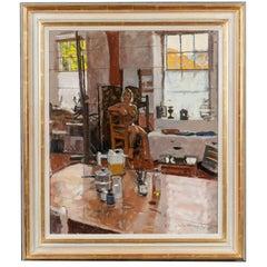 Modern Painting of Female Nude in Artist's Studio by Ken Howard
