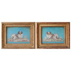 Pair of 18th Century Silkwork Collages of Cavalier King Charles Spaniels