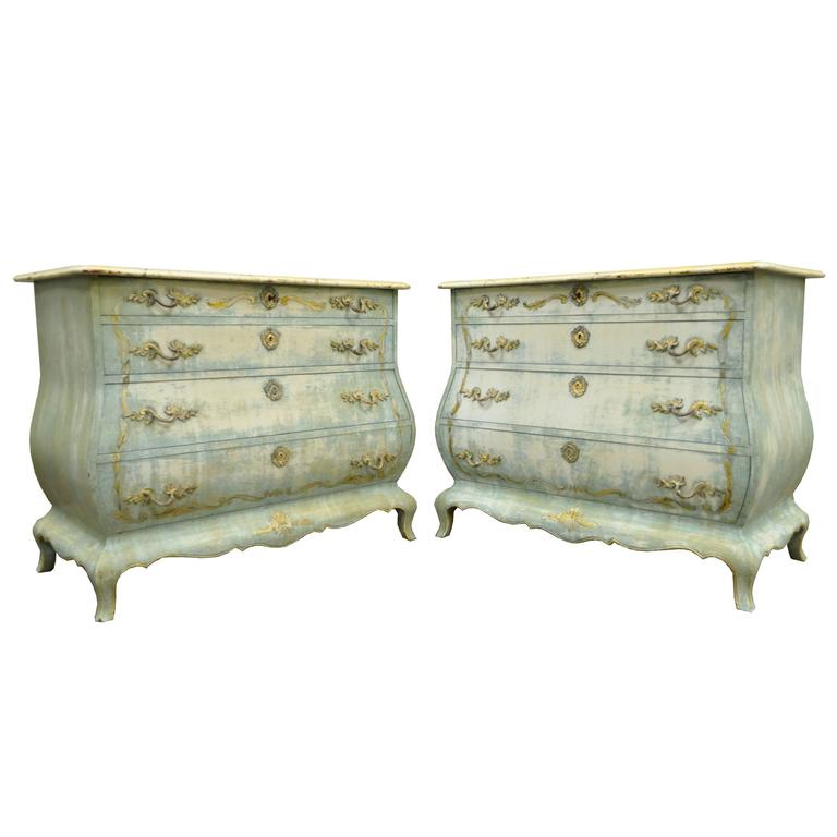 Pair of Custom Distress Painted French Louis XV Style Bombe Form Commodes 1