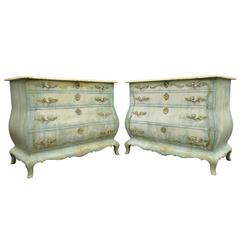 Pair of Custom Distress Painted French Louis XV Style Bombe Form Commodes