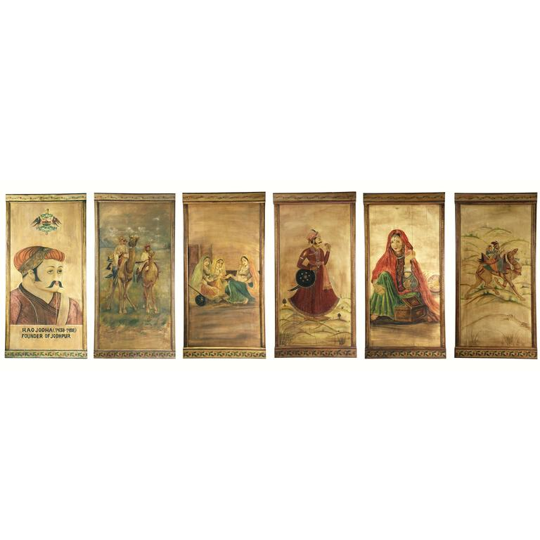 Six Decorative Lacquered Panels with Hindu Paintings, circa 1920-1930 For Sale