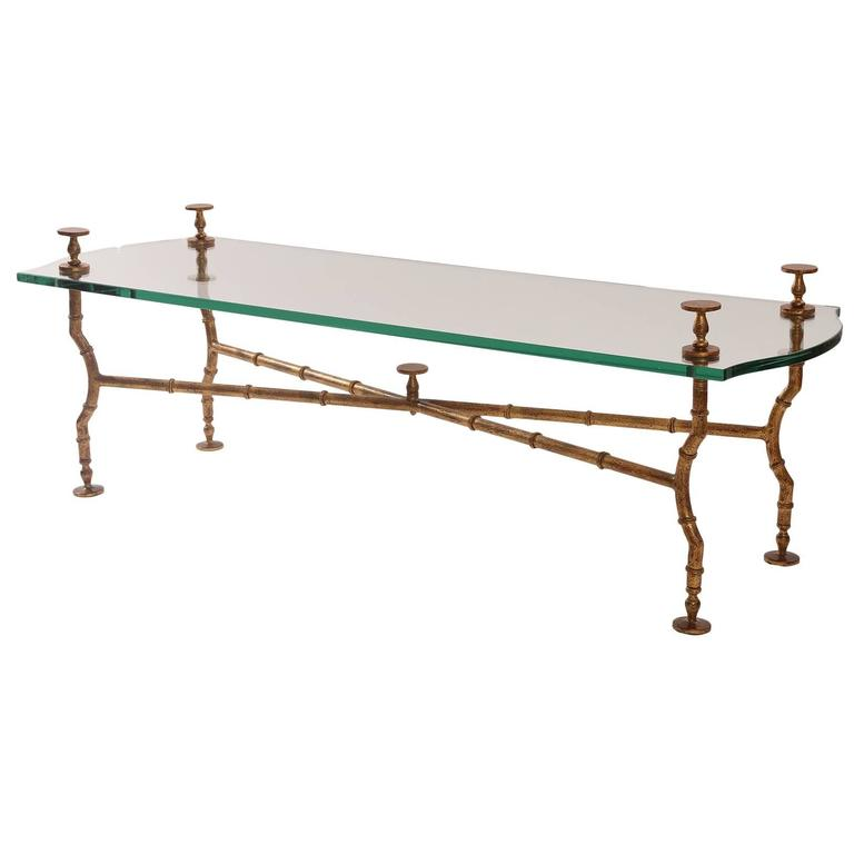 Gold Leafed Steel and Glass Sculptural Cocktail Table